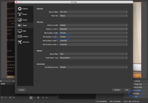 screenshot of audio settings